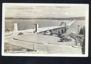 RPPC SEATTLE WASHINGTON LAKE FLOATIMG BRIDGE 1940's CARS REAL PHOTO POSTCARD