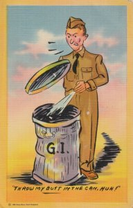 MILITARY COMIC, 1930-40s; Soldier , Trash can