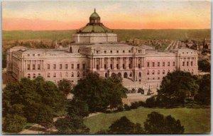 Washington DC Hand-Colored Postcard LIBRARY OF CONGRESS Bird's-Eye View c1930s