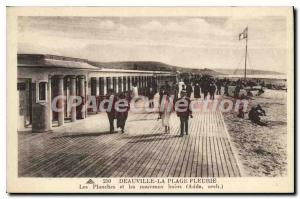 Old Postcard Deauville Beach Fleurie boards and the new arch Bains Adda