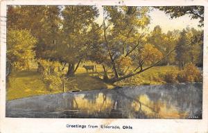 Eldorado Ohio~Cow by the Prince Creek~1935 Postcard