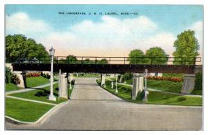 1946 The Underpass, US Hwy 11, Laurel, MS Postcard