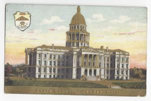 Denver Colorado State Capitol Seal Embossed Gold Postcard