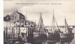 Three Fishermen Of Cape Ann At The Old Wharf Rockport Massachusetts Albertype