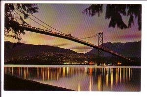 Lions Gate Bridge at Dusk, Vancouver, British Columbia,