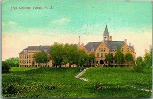 1914 FARGO North Dakota Postcard FARGO COLLEGE Main Building View w/ Cancel