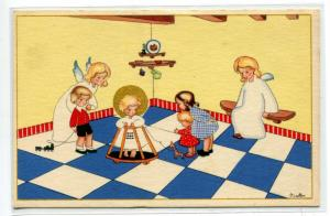 Guardian Angels Watch Over Little Children in Nursery artist signed postcard
