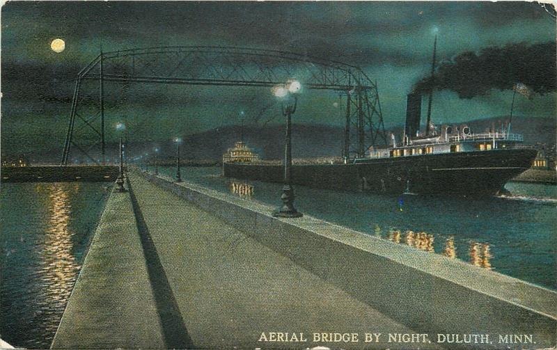 Duluth Minnesota~Aerial Bridge by Night~Steamship Passing Under~Moon~1912 PC