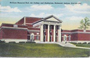 Richmond IN - MCGUIRE MEMORIAL HALL Art Gallery and Auditorium 1940s
