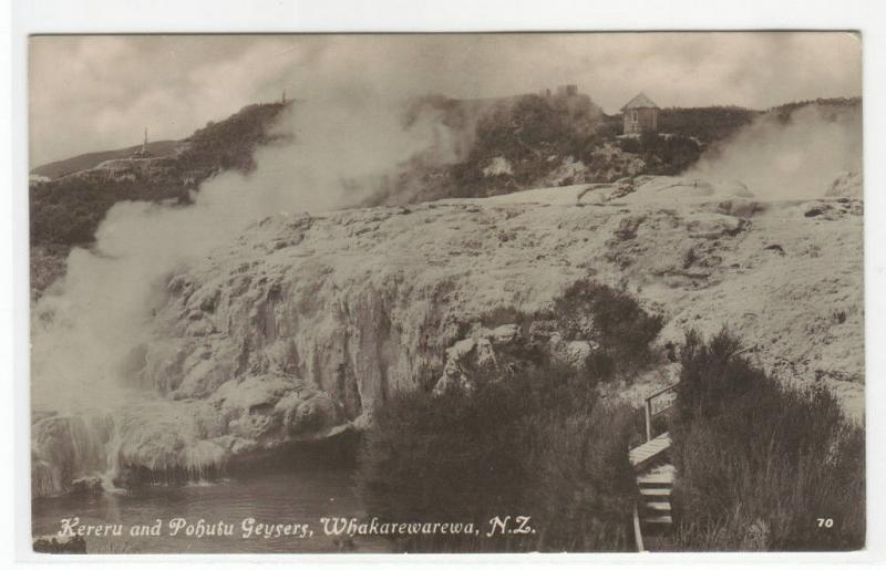 Kereru Pohutu Geysers Whakarewarewa New Zealand RPPC Real Photo postcard