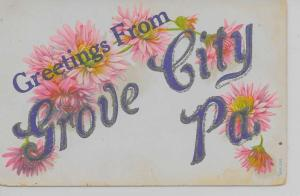 Grove City Pennsylvania Greetings From flowers glittered antique pc Z18230