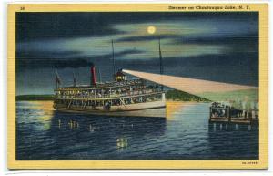 Steamer at Night Moonlight Chautauqua Lake New York linen postcard