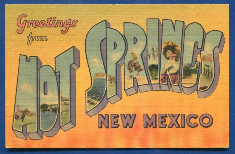 Hot Springs New Mexico nm large letters letter linen postcard #2