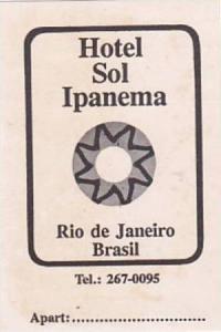 BRASIL RIO DE JANEIRO HOTEL SOL IPANEMA VINTAGE LUGGAGE LABEL