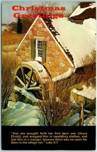1979 Christmas Greetings Postcard Winter Mill Scene American Tract Society