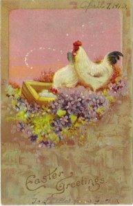 Antique Easter Postcard Chickens Violets 1912