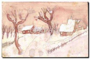 Old Postcard Fantasy Landscape (drawing hand)