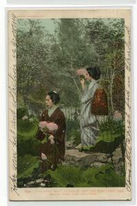 Japanese Women Lotus Leaf Garden Japan 1905 postcard
