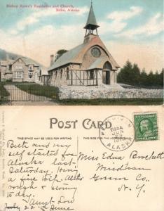 BISHOP ROWE'S RESIDENCE & CHURCH SITKA ALASKA 1912 ANTIQUE POSTCARD
