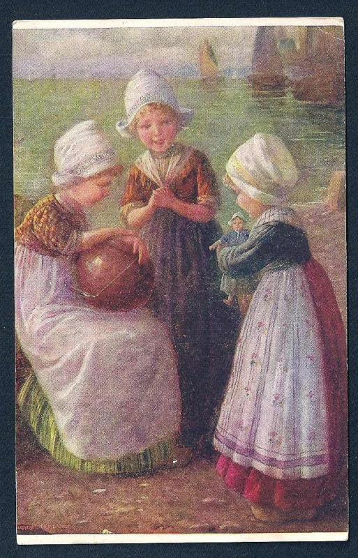 Dutch Girls with Toys unused c1910's