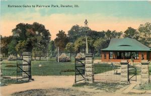 Decatur Illinois~Fairview Park Iron Entrance Gates~Dirt Path~Shelter House~1914