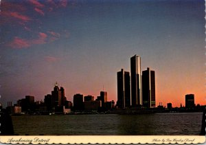 Michigan Detroit Skyline At Sunrise As Viewed From Windsor Canada