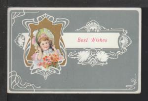 Best Wishes,Girl in Bonnet Postcard