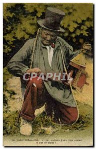 Old Postcard Sad Zallumettes Folklore Costume Cliff