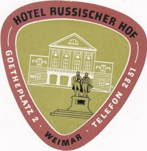 Germany Weimar Hotel Russischer Hof Vintage Luggage Label sk3258