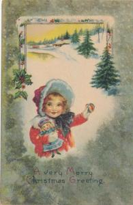Christmas Greetings - Girl with Doll Waving - Winter Scene - pm 1919 - DB