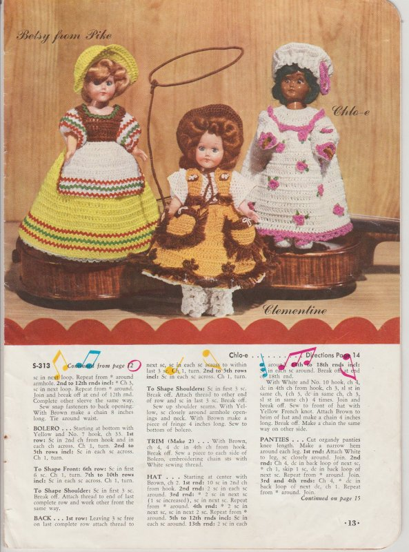 1952 J & P Coats Presenting Dolls from Old American Songs Crochet Book #292