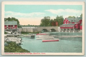 Stamford Connecticut~Cove Pond Showing Miller's Bridge~Men Work on Boat~1920s