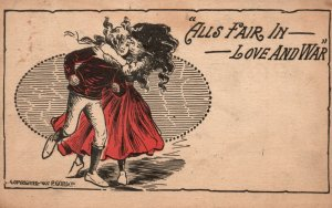 Vintage Postcard 1910's Alls Fair in Love and War Man and Woman