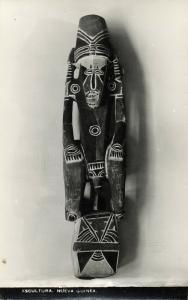 papua new guinea, Native Sculpture (1940s) RPPC Postcard