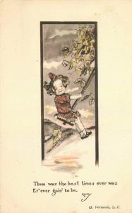 Cobb Shinn Girl on swing saying 1915 Postcard hand colored 3753
