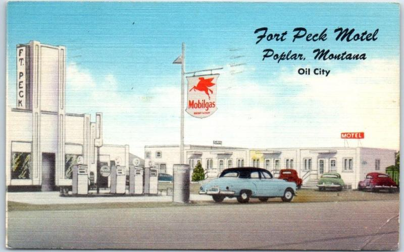 Poplar, Montana Postcard FORT PECK MOTEL