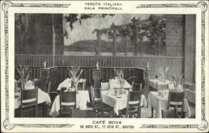 Boston MA Caf' Bova Restaurant Interior c1910 Postcard