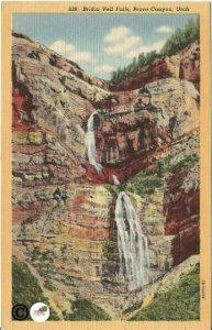 Bridal Veil Falls Provo Canyon Utah Vintage Linen Postcard 1941 Vintage Postcard