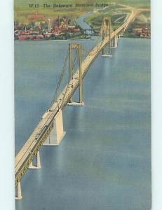 Unused Linen BRIDGE SCENE Deepwater New Jersey To Wilmington Delaware DE H8010