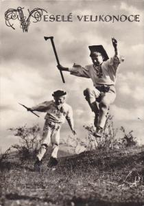 RP: Czech Republic , 30-50s ; Vesele Velikonoce [Easter] , Boys jumping w/ ax...
