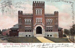 State Armory, Westerly, Rhode Island, Early Postcard, Used in 1912