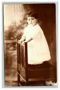 Vintage 1910's RPPC Postcard Child in White Dress Standing on Chair - Funny