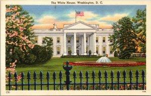 The White House, Washington, D.C. linen postcard fountain tree blossoms