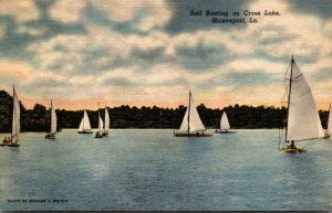 Louisiana Shreveport Sail Boating On Cross Lake 1954 Curteich
