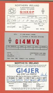 QSL AMATEUR RADIO CARDS – NORTHERN IRELAND – 3 DIFFERENT – 1981-1989 (2)