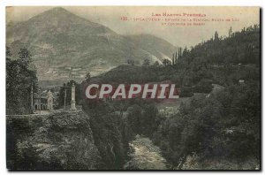 Old Postcard The High Pyrenees St Sauveur entrance of Luz Road station and co...