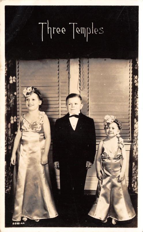 Three Temples~Midgets Work Shirley Temple Movie Little Miss Broadway~1938 RPPC