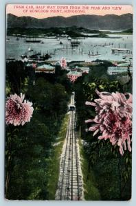 Postcard Hong Kong View Harbor Ships Kowloon Point From Peak Tram Car c1912 M15