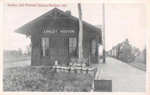Ashley Hudson Indiana Wabash Train Station Vintage Postcard AA4156