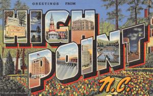 High Point NC Large Letter Linen~World's Largest Bureau~Swimming Pool~Dam 1941